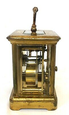 Antique 8 day Miniature Brass Carriage Clock Timepiece with Travelling Box Case 3