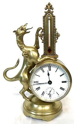 Stunning Antique Brass Griffin Novelty Desk Thermometer And Alarm Clock 2