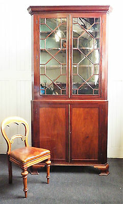 Antique large Victorian Mahogany 8ft tall corner cupboard - display cabinet 5