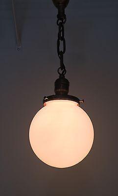"21"" Long Brass Pendant Light With Beautiful Milk White Globe Hubbell Socket 3"