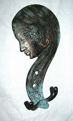A VERY ATTRACTIVE Beautifully Engraved INDIAN WOMAN BRASS COAT HOOK from INDIA 2