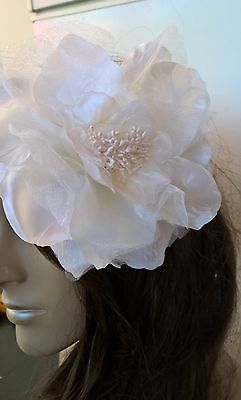 ivory satin flower fascinator millinery burlesque wedding hat bridal race 2