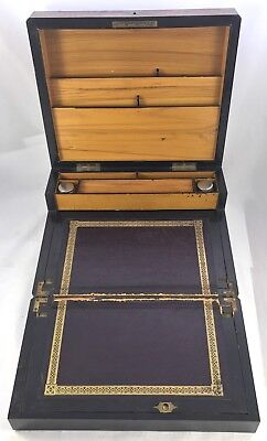 Antique Birds Eye Maple & Mother of Pearl Fitted Writing Box Slope circa 1880 4