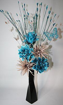 Artificial Silk Flowers Teal /& Mink Flower Arrangement Butterfly Black Vase 60cm