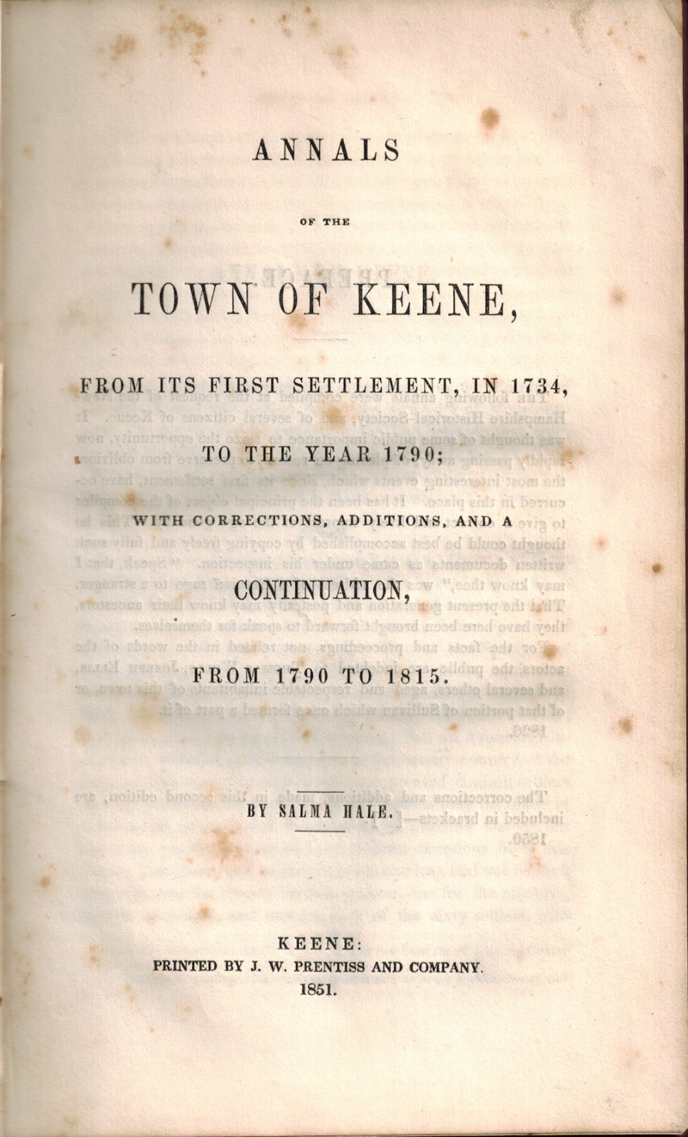 1851 18th Century History Keene New Hampshire Map New England Colonial America 2