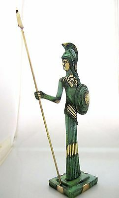 Ancient Greek Bronze Museum Statue Replica of Athena Goddess Wisdom Spear Shield