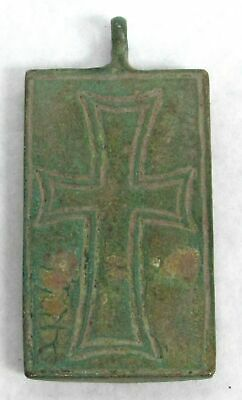 10th to 12th CENTURY AD RARE BRONZE BYZANTINE RECTANGULAR CHRIST PENDANT 2
