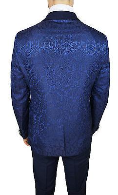 ... Abito Uomo Diamond Raso Blu Floreale Completo Vestito Smoking Elegante  Cerimonia 5 80f346df45f