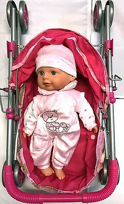 Pink Stroller With Pink Doll Toy 8