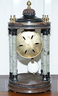 Vintage Marble Pillared Clock With Working Pendulum Movement Nautical Theme 9