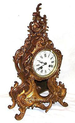 French Antique Louis XV Style Ormolu Bronze Mantel Bracket Clock c1880 3