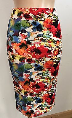 SMART NAVY CASUAL PENCIL TUBE WIGGLE FRILL FEATURE STRETCH SKIRT SIZE 10-20