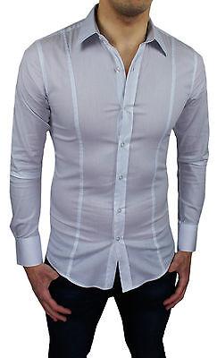 Camicia SLIM FIT collo alla coreana bianca aderente moda uomo cotone stretch