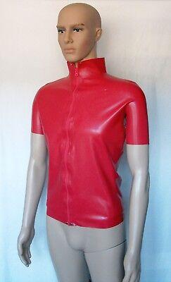 Latex T-Shirt Herren, Reißverschluss, kurze Ärmel
