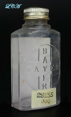 Antique BAYER HEROIN TABLETS bottle 1st style used hand Blown In Mold BIM 1800's 2