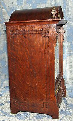 Antique Oak & Brass TING TANG Bracket Mantel Clock WINTERHALDER HOFFMEIER W & H 5