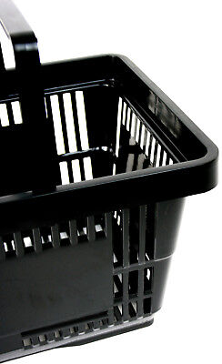 2 Handle Black Plastic Shopping Basket Retail Supermarket Use 3