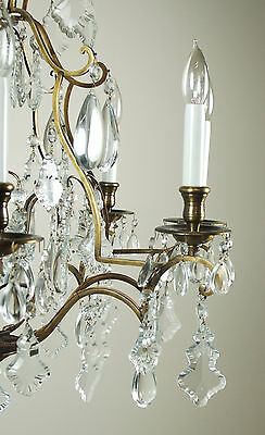 Magnificent Vintage French Style Crystal Pendalogue Tear Drop Prism Chandelier 6
