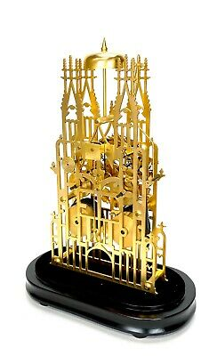 Large English Style Cathedral Crown Escapement Fusee Striking Skeleton Clock 4