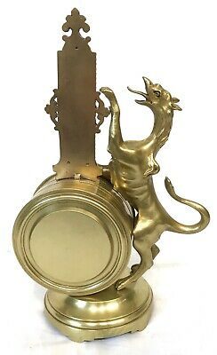 Stunning Antique Brass Griffin Novelty Desk Thermometer And Alarm Clock 4