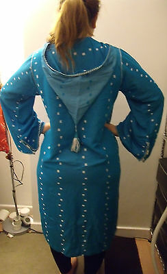 Moroccan     Djellaba    Kaftan      Blue & White   North African Dress 2