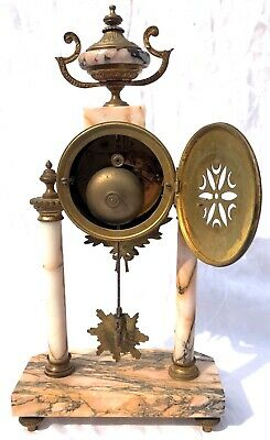 French Antique Pink Orange Rouge Marble Bracket / Mantel Clock Garniture Set 11