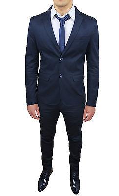 a2a05071b1b517 ... Abito Uomo Sartoriale Blu Slim Fit Aderente Completo Vestito Elegante  In Cotone 3