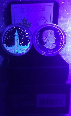 2019 Northern Lights Parliament Hill Glow-Dark $20 1OZ Silver Proof Coin Canada 5