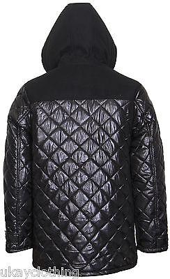 Mens Hooded Diamond Quilted Duffle Coat Jacket Jacken