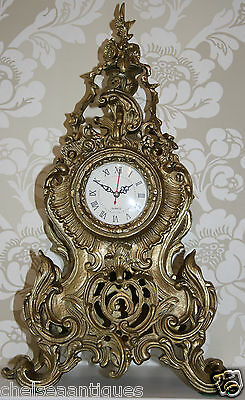 ANTIQUE Louis XV French Bronze Clock Gilt Ormolu Mantel Tall/Large Ornate/Rococo 4