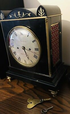 Twin Fusee London English Barwise antique bracket clock Twin Fusee Scarce 4