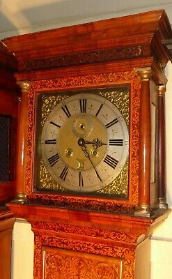 "Antique Walnut Marquetry London  ""Month Duration "" Longcase / Grandfather Clock 5"