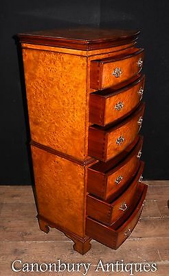 Regency Burl Walnut Chest on Chest Bow Front Commode 6