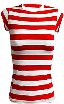 MEN/'S WOMEN/'S RED /& WHITE STRIPE T-SHIRT KIT HEN PARTY NIGHT COSTUME BOOK DAY
