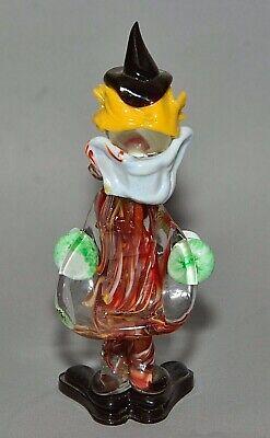 """Vintage Italian Murano Multicolored Glass Clown Figurine w/ Concertina 9"""" tall 2"""