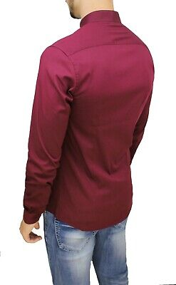 Camicia Uomo Casual Slim Fit Bordeaux Cotone Stretch Con Colletto Alla Coreana 3
