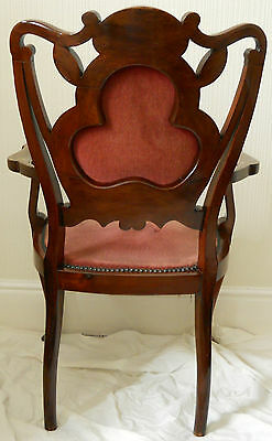 Antique Original Walnut Elbow Chair,Rose Coloured Upholstery,Beautiful Inlay. 4