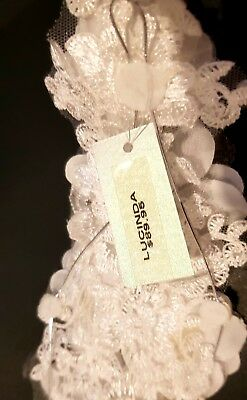 Bride bridesmaid White Lace, flower headpiece Bejewelled Bridal BRAND NEW!!