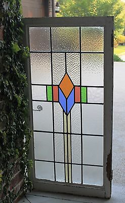 Antique English Wood Framed Leaded 7-Color Stained Glass Window Art Deco LARGE#2 6