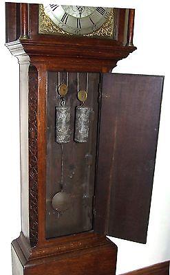 Antique 8 Day Oak Longcase Grandfather Clock Atkinson of GATESHEAD : Centre Date 8