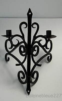 Old French Provence Wrought Iron Gothic Medieval Sconce Castle Candleholder 12