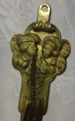 Antique 1800's Ornate Brass Romeo Juliet Wall Mirror Oil Candle Lamp Hook Hanger