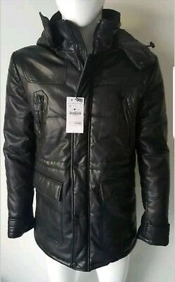30f6303e4 NWT ZARA MAN Black Faux Leather Puffer Quilted Hooded Jacket Coat Size L, XL