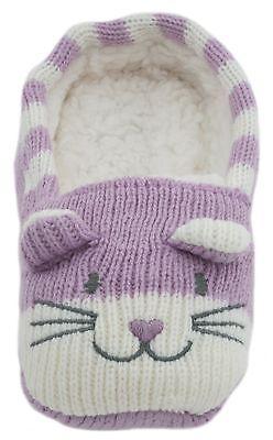 RJM Girls Soft Knitted Cat Slipper Socks with Grippy Soles 6