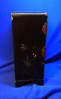 Attic Found Vintage Japanese Wood Shelf Flower Motive Jewel Case #< 9