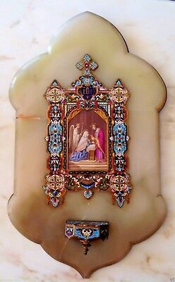 Antique Rare Huge Catholic Enamel Icon With Onyx!