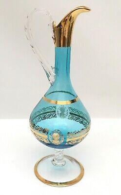 Vintage Bohemian/Victorian Glass Wine Decanter Pitcher Cameo Gold Gilt 3