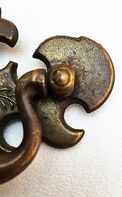 Brass Antique Hardware Vintage Chippendale Drawer Pull 2 1/2 center Rustic Cabin 3