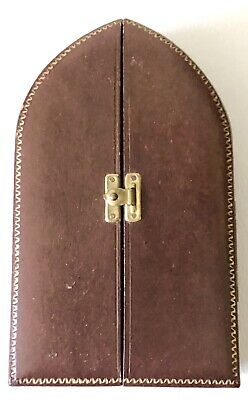 Vtg Italian Leather Case Miniature Hand Painted Holy Religious Madonna Celluloid 3