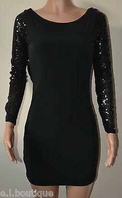 VICKY MARTIN black bodycon silver sequin cleavage plunge mini dress BNWT 8 10
